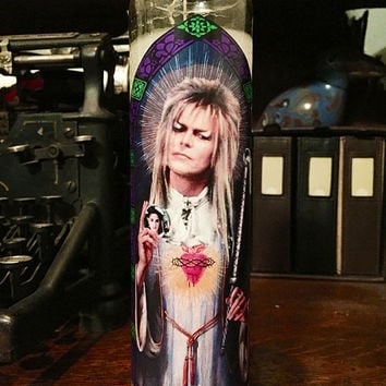 Saint David Bowie Labyrinth Prayer Candle - Worship the Goblin King!