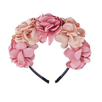 Be Unique Bowtique, Girl Flower Crown Headband Satin Champagne and Pink Flowers Plastic Headband with Teeth