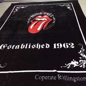 2015 New Fashion Fleece Fabric Printed Brand Fashion Black Blanket with printing Rolling stones  With Size 150*200cm msc hwd