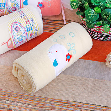 White Whale Yellow Embroidered Applique Coral Fleece Baby Throw Blanket in 29.5 by 39.4 inches
