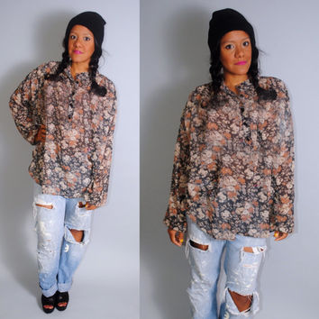 Vintage 1970s cotton FLORAL oversized SHEER long sleeve flowey tunic blouse top shirt
