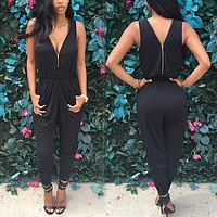 Women Jumpsuit Romper Sleeveless chiffon Black Trousers long pants