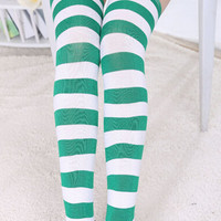 Green and White Striped Over-the-Knee Socks
