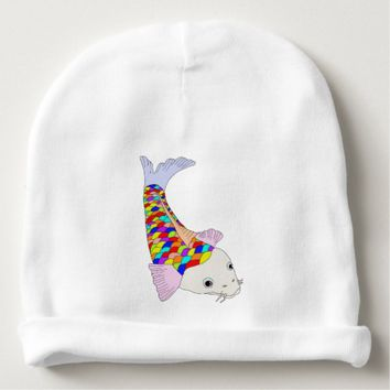 Colorful fish baby beanie