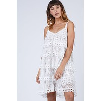 Audrey Tiered Ruffle Lace Sundress - Ivory White