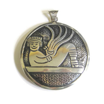 HUGE Vintage Aztec Pendant Sterling Mexico Cipactli Chacmool