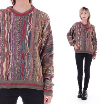 Earth Tone Textured Coogi Like Sweater Made in Italy Slouchy Unisex Jumper Crew Neck Hipster Grunge 90s Hip Hop Clothing Size Small Medium