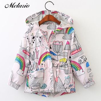 Melario Outwear&Coats 2018 Kids Coats Jackets Clothing Baby Girls Clothes Fashion Cartoon Brid&Flowers Print Hooded Outerwear