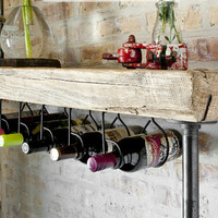 "4.5' Industrial Reclaimed Wine Bar and Rack w/ Pipe legs and thick 2.5"" Top (150 year plus ""old growth"" wood) 4.5'L x 11.5"" w x 35"" tall"