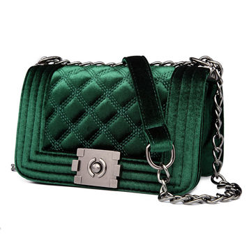 Velour Crossbody bag Fashion Women Bag Luxury Handbags Women Purses Designer Brand Ladies Chain Velvet Shoulder Messenger Bags