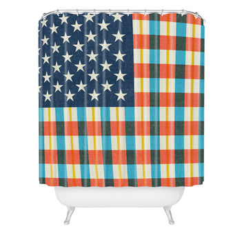 Nick Nelson Plaid Flag Shower Curtain