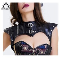 TOPMELON Crop Corset Gothic Steampunk Cut Out Corselet Leather Accessories Women's Sexy Sleeveless Crop Shoulder Lace Up Top