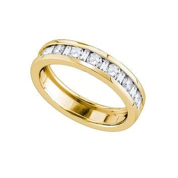 14kt Yellow Gold Womens Alternating Round Baguette Diamond Single Row Wedding Band 1.00 Cttw