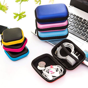 New Colorful Headphones Earphone Bag Cable Earbuds Storage Hard Case Travel Key Coin Bag SD Card Holder Box Free Shipping 222