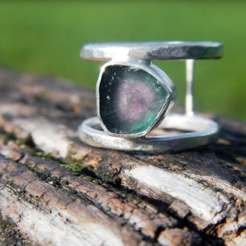 Watermelon Tourmaline Slice Double-Band Ring