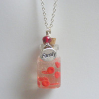 Family Blood Ties Blood Cell Bottle Necklace Pendant - Miniature Food Jewelry
