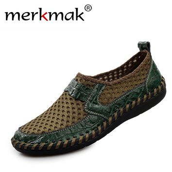 Men's Genuine Leather Closed Toe Sandals by Merkmak
