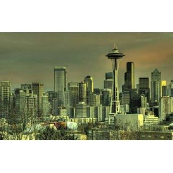 Seattle Skyline poster Metal Sign Wall Art 8in x 12in
