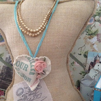 Shabby chic millinery flour sack necklace, shabby chic necklaces, vintage necklaces with buttons
