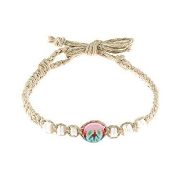 AUGUAU Hemp Anklet Bracelet with Shells and Fimo Disc (Pink Blue Peace)