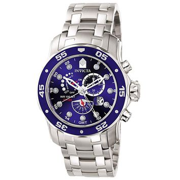 Invicta 6087 Men's Pro Diver Power Reserve Multi-Function GMT Stainless Steel Alarm Watch