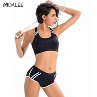Body Suit Swimwear Women Two Piece Halter Top Bikini Sets Athletic Sport Swimsuit Patchwork Black  Workout bikini Swimwear 2017