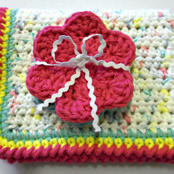 Crochet Washcloth and Face Scrubbies Set - Pink, Yellow, Blue, and White