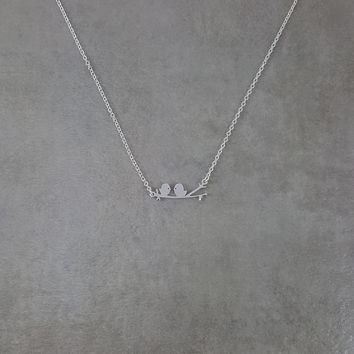 Love Birds on Branch Silver Necklace