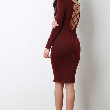 Back Corset Lace Up Long Sleeves Bodycon Midi Dress