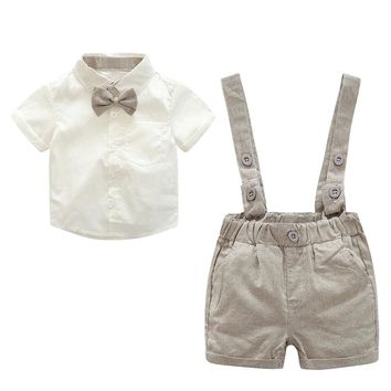 2pcs Baby Clothing Set Kids Toddler Boys Gentlemen Bowknot Short Sleeve Cotton Shirt Suspender Pants Outfit 3 to 18 Months