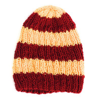 Gryffindor Beanie Striped Knit Hat Womens Fall Fashion - Red and Gold