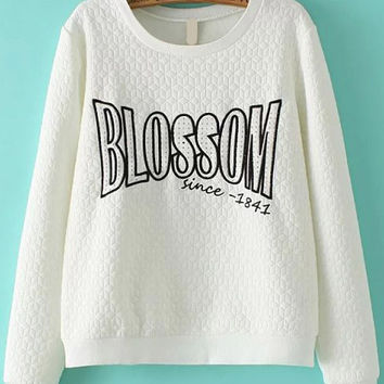 White Letter Embroidered Patch Long Sleeve Sweatshirt