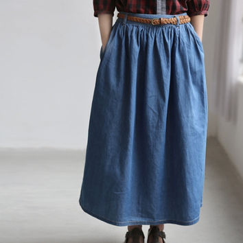Woman Long Skirt/ Summer thin cowboy cotton Maxi Skirt/ Pleated elastic waist expansion skirt