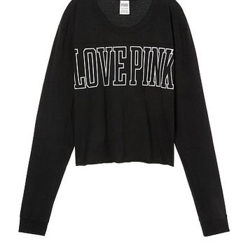 Long sleeve Cropped Football Tee - PINK - Victoria's Secret