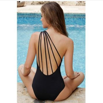 Siamese hollow swimsuit high-end multi-rope sexy back solid color Black