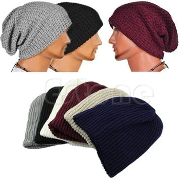 Cool Male Vertical Lattice Slouchy Oversize Cap Men Winter Knit  Beanie Skull Warm Hat Unisex