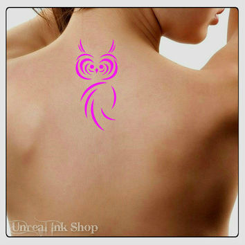 Temporary Tattoo Owl Fake Tattoo Thin Durable