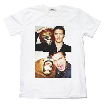 James Franco With Bear Lovely Cute Hipster dope Supreme RAD pop Fan portrait White T-shirt Unisex Men Women Size S, M, L, XL