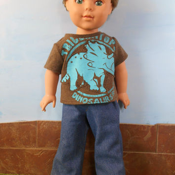 18 Inch Boy Doll Clothes, Dinosaur T-shirt and Blue Jeans, Short Sleeved Brown Dinosaur T shirt and Blue Jeans, 18 Inch Doll Clothes