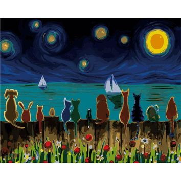 5D Diamond Painting Cats watching the Sea Kit