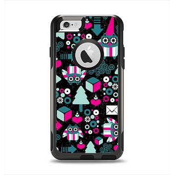 The Pink & Teal Owl Collaged Vector Shapes Apple iPhone 6 Otterbox Commuter Case Skin Set