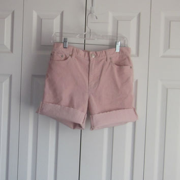 Pink Corduroy Shorts, High Waist 33, Womens Size 10, Pink Cord Jean Shorts, Upcycled Lauren Cut Off Pink Shorts, Beach Resort Wear