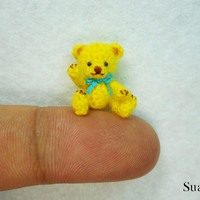 Miniature Mohair Bear 0.8 inch  Tiny Amigurumi Crochet by SuAmi