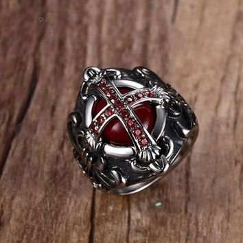 Mens Vintage The End Time Cross Rings With Blood Red Inner Zircon Stones Stainless Steel Metal Male Jewelry Sizes 7-12