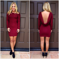 Ruby Red Drape Back Dress