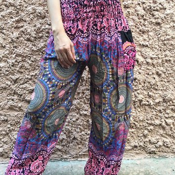 Mandala Harem Pants Hippie Boho Chic Festival clothing Gypsy Beach Summer Yoga Clothes Bohemian Fashion Meditation Women men Gift for her