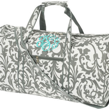 "Personalized women's ""Grey Floral Large DUFFLE BAG"", Monogrammed with your Initials.    Size 21"" L x 10"" W x 11""H"