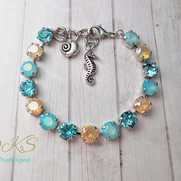 Cape May, Swarovski 8mm Crystal Bracelet, Beach Wedding, Adjustable, Blue, Tan, DKSJewelrydesigns, FREE SHIPPING