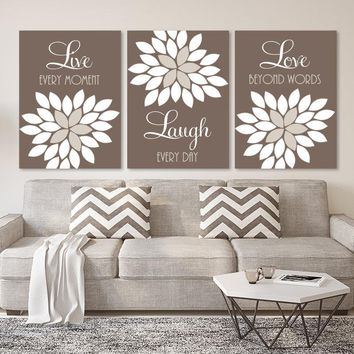 Live Laugh Love Wall Art, Live Laugh CANVAS or Prints, Brown Beige Bedroom Pictures, Brown Beige Bathroom Quotes Wall Decor Set of 3 Artwork