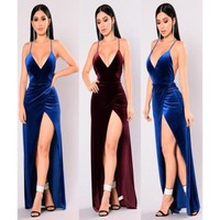 Women Ladies Clothing Dresses High Cut Bodycon Bandage Party Deep V Neck Long Maxi Backless Dress Women Clothes